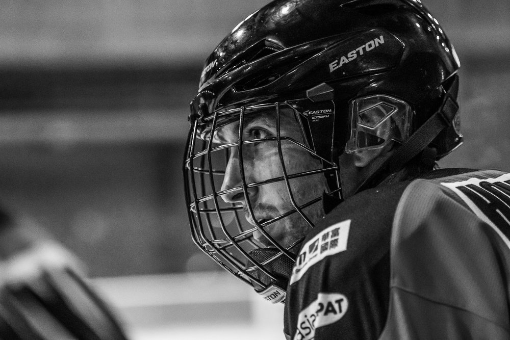 BANGKOK, THAILAND - OCTOBER 29: (This image has been converted to black and white.) Hong Kong Tigers JOG Land of Smiles Ice Hockey Classic 2016 Finals on October 29, 2016 at The Rink Central Rama IX, Bangkok, Thailand. (Photo by: Naratip Srisupab/Thailand Photo SEALs Sports Photography)