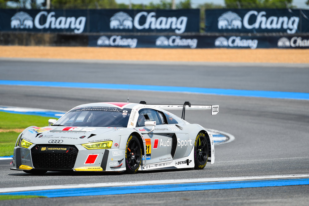BURIRAM, THAILAND - OCTOBER 07: GT-300 car #21 Hitotsuyama Audi R8 LMS of Richard Lyons / Masataka  Yanagida during the practice round on Turn 3 at the AUTOBACS Chang Super GT Round 7 Race 2017, Chang International Circuit, Buriram, Thailand on October 07, 2017. (Photo by: Naratip Srisupab/SEALs Sports Images)