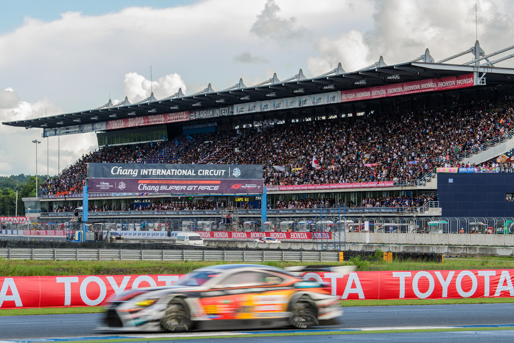 BURIRAM, THAILAND - OCTOBER 08: The Grandstand is full with spectators coming from nearby countries to watch the AUTOBACS Chang Super GT Round 7 Race 2017, Chang International Circuit, Buriram, Thailand on October 08, 2017. (Photo by: Naratip Srisupab/SEALs Sports Images)