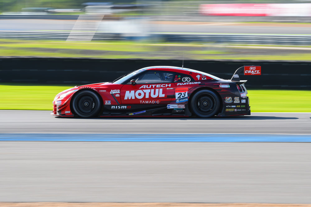 BURIRAM, THAILAND - OCTOBER 08:  GT-500 car #23 Nissan MOTUL AUTECH GT-R of Tsugio Matsuda / Ronnie Quintarelli on Turn 11 at the AUTOBACS Chang Super GT Round 7 Race 2017, Chang International Circuit, Buriram, Thailand on October 08, 2017. (Photo by: Naratip Srisupab/SEALs Sports Images)