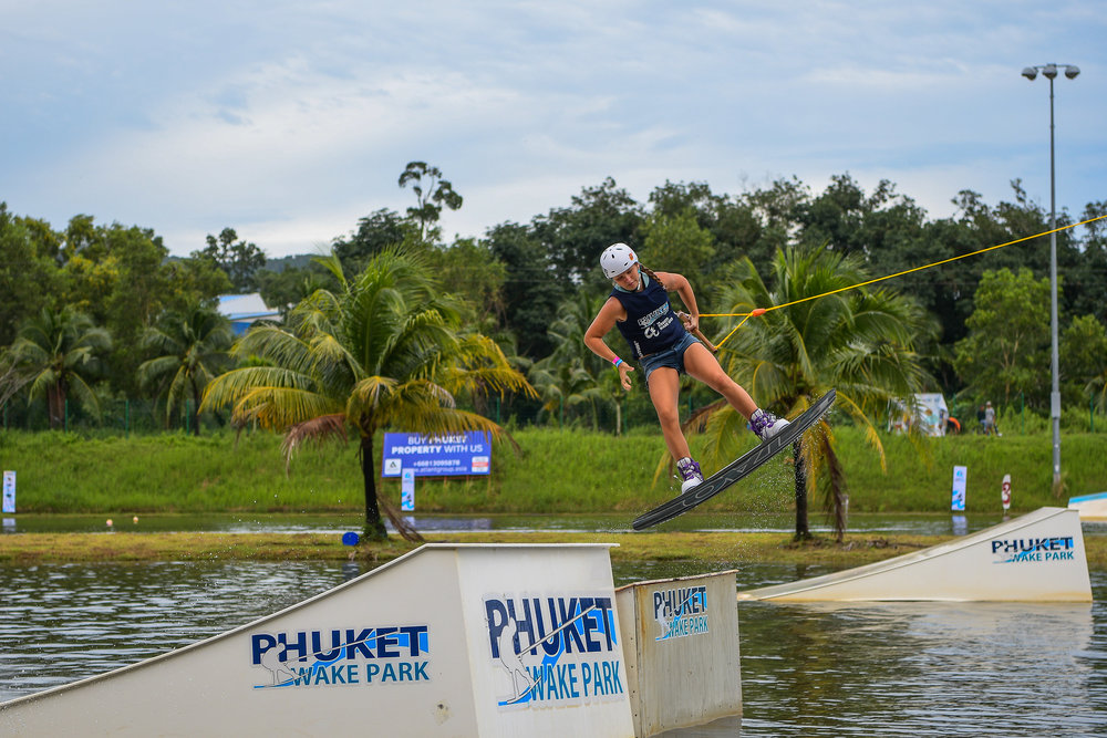 PHUKET, THAILAND - OCTOBER 01: Maria Volgina during the Open Women Wakeboard Round 1 at the The Gravity Wake Open 2017, Phuket Water Park, Phuket, Thailand on October 01, 2017. (Photo by: Naratip Srisupab/SEALs Sports Images)