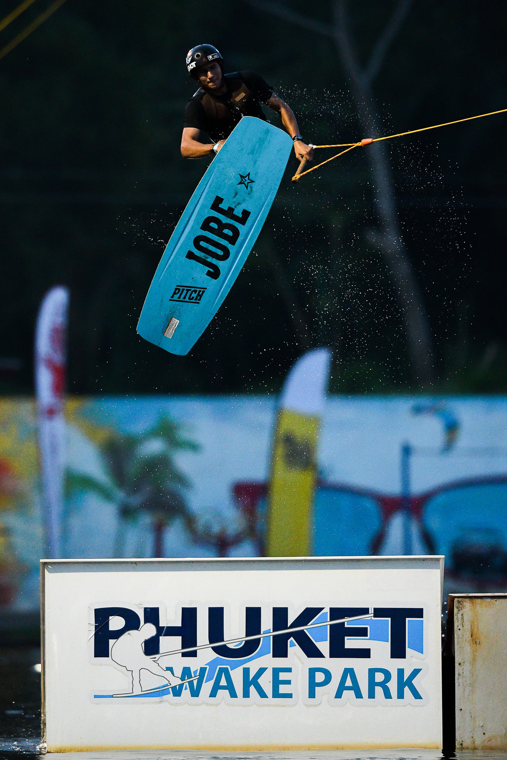 PHUKET, THAILAND - OCTOBER 01: Dewit Prasong during the Pro Feature Wakeboard Round 1 at the The Gravity Wake Open 2017, Phuket Water Park, Phuket, Thailand on October 01, 2017. (Photo by: Naratip Srisupab/SEALs Sports Images)