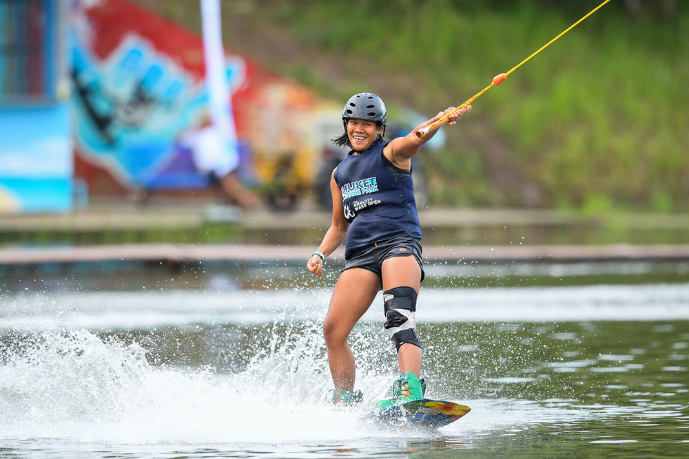 PHUKET, THAILAND - OCTOBER 30: Nui Srirasin during Open Women Wakeboard Round 1 at the The Gravity Wake Open 2017, Phuket Water Park, Phuket, Thailand on September 30, 2017. (Photo by: Naratip Srisupab/SEALs Sports Images)