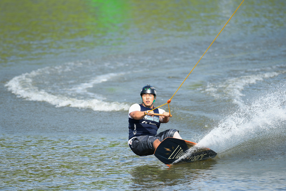 PHUKET, THAILAND - OCTOBER 01: Participant during the Open Men Wakeskate Finals at the The Gravity Wake Open 2017, Phuket Water Park, Phuket, Thailand on October 01, 2017. (Photo by: Naratip Srisupab/SEALs Sports Images)