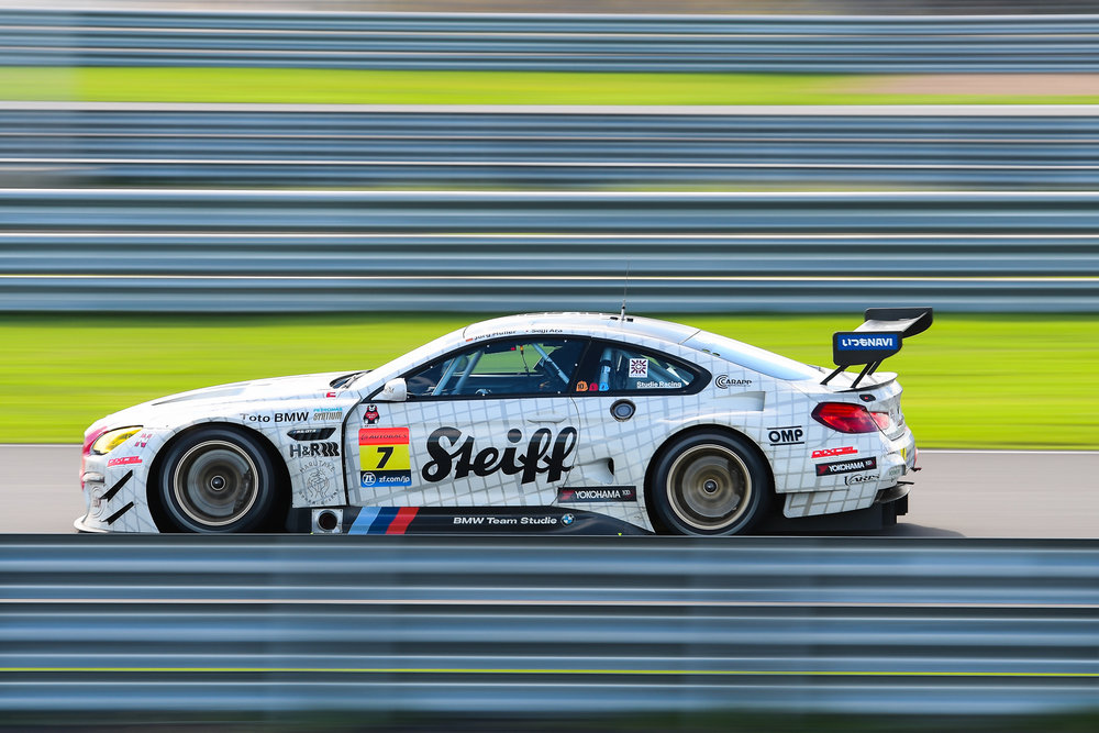BURIRAM, THAILAND - OCTOBER 08: GT-300 car #7 Studie BMW M6 on the straightaway at the AUTOBACS Chang Super GT Round 7 Race 2017, Chang International Circuit, Buriram, Thailand on October 08, 2017. (Photo by: Naratip Srisupab/SEALs Sports Images)