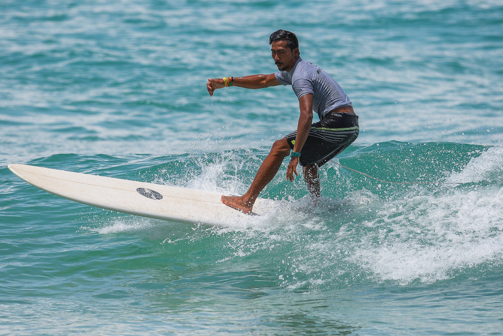 PHUKET, THAILAND - OCTOBER 01: Men's Open Long Board participants competing at the 1st Annual Surin Surf Contest 2017, Surin Beach, Phuket, Thailand on October 01, 2017. (Photo by: Naratip Srisupab/SEALs Sports Images)