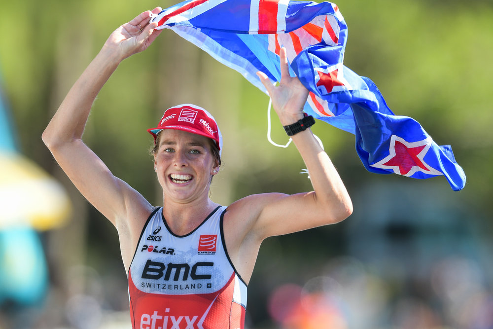 PHUKET, THAILAND - NOVEMBER 19: Amelia Rose Watkinson of New Zealand apporaching the finish line in women's overall first place at Laguna Phuket Triathlon 2017 at Laguna Phuket, Cherngtalay, Phuket, Thailand on November 19, 2017. (Photo by: Naratip Srisupab/SEALs Sports Images)