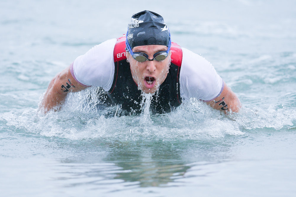 PHUKET, THAILAND - NOVEMBER 26: Ricky Swingdale of Australia on the swim course during the Foremost Ironman 70.3 Thailand 2017 at Laguna Phuket, Cherngtalay, Phuket, Thailand on November 26, 2017. (Photo by: Naratip Srisupab/SEALs Sports Images)