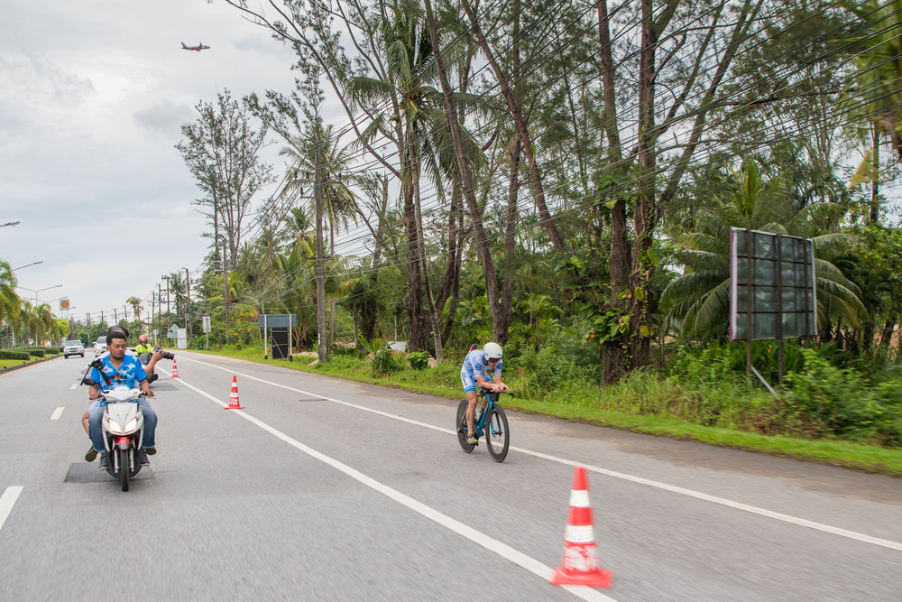 PHUKET, THAILAND - NOVEMBER 26: Markus Rolli of Germany with a super lead on the cycling course during the Foremost Ironman 70.3 Thailand 2017 at Laguna Phuket, Cherngtalay, Phuket, Thailand on November 26, 2017. (Photo by: Naratip Srisupab/SEALs Sports Images)