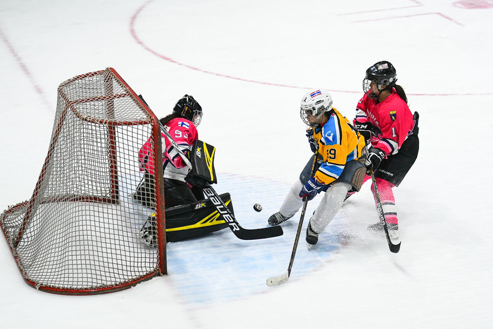 BANGKOK, THAILAND - NOVEMBER 04: Game 74 Bangkok Samitivej Women's Final STC vs Jazura Girls Ice Hockey Club at the Land of Smiles Ice Hockey Classic 2017, The Rink Central Rama IX, Bangkok, Thailand on November 04, 2017. (Photo by: Naratip Srisupab/SEALs Sports Images)