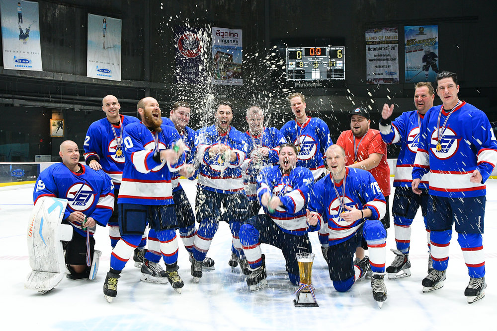 BANGKOK, THAILAND - NOVEMBER 04: Game 73 The Rink Central Rama IX Men's Final Champions: Finland Jetlags at the Land of Smiles Ice Hockey Classic 2017, The Rink Central Rama IX, Bangkok, Thailand on November 04, 2017. (Photo by: Naratip Srisupab/SEALs Sports Images)
