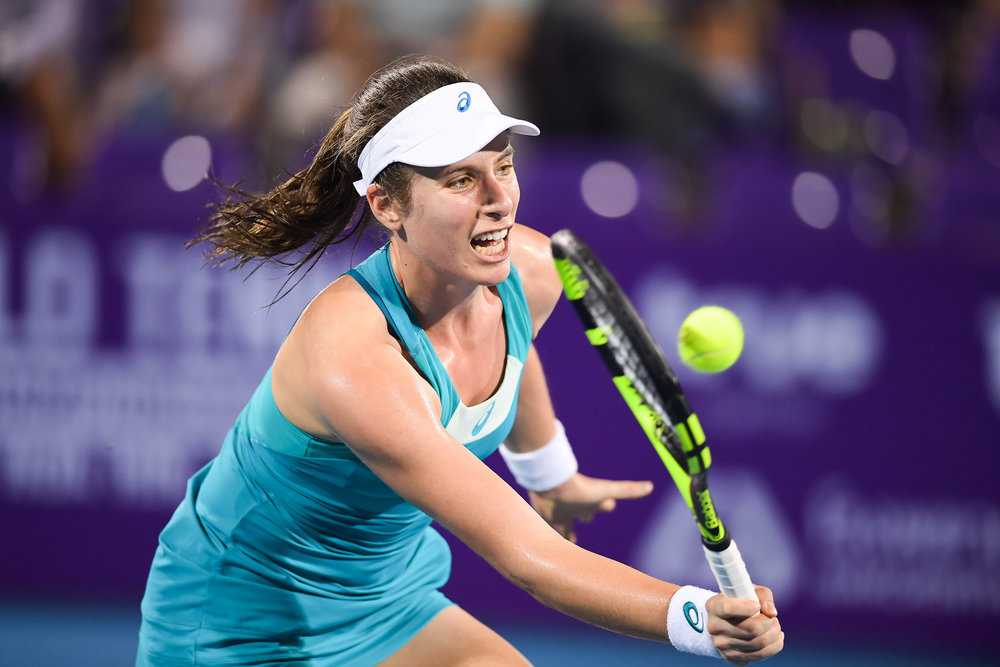 HUA HIN , THAILAND - DECEMBER 23: Johanna Konta of Great Britain playing her Semi-Final Match on Centre Court during the Intercontinental World Tennis Thailand Championship 2017 at True Arena Hua Hin, Hua Hin, Prachuap Khiri Khan, Thailand on December 23, 2017. (Photo by: Naratip Srisupab/SEALs Sports Images)