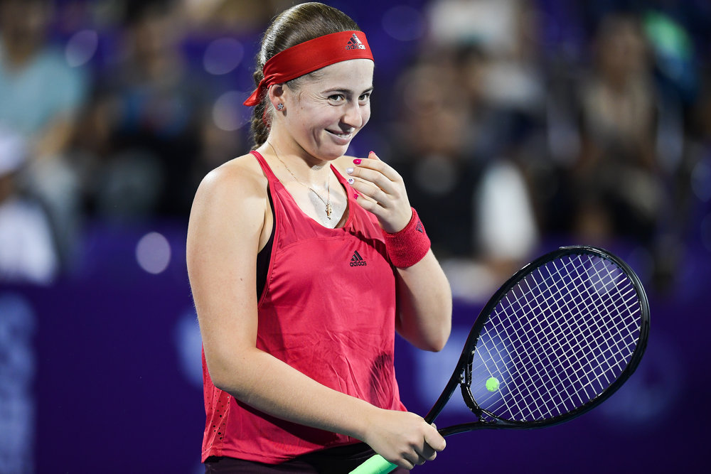 HUA HIN , THAILAND - DECEMBER 23: Jelena Ostapenko of Latvia playing her Semi-Final Match on Centre Court during the Intercontinental World Tennis Thailand Championship 2017 at True Arena Hua Hin, Hua Hin, Prachuap Khiri Khan, Thailand on December 23, 2017. (Photo by: Naratip Srisupab/SEALs Sports Images)