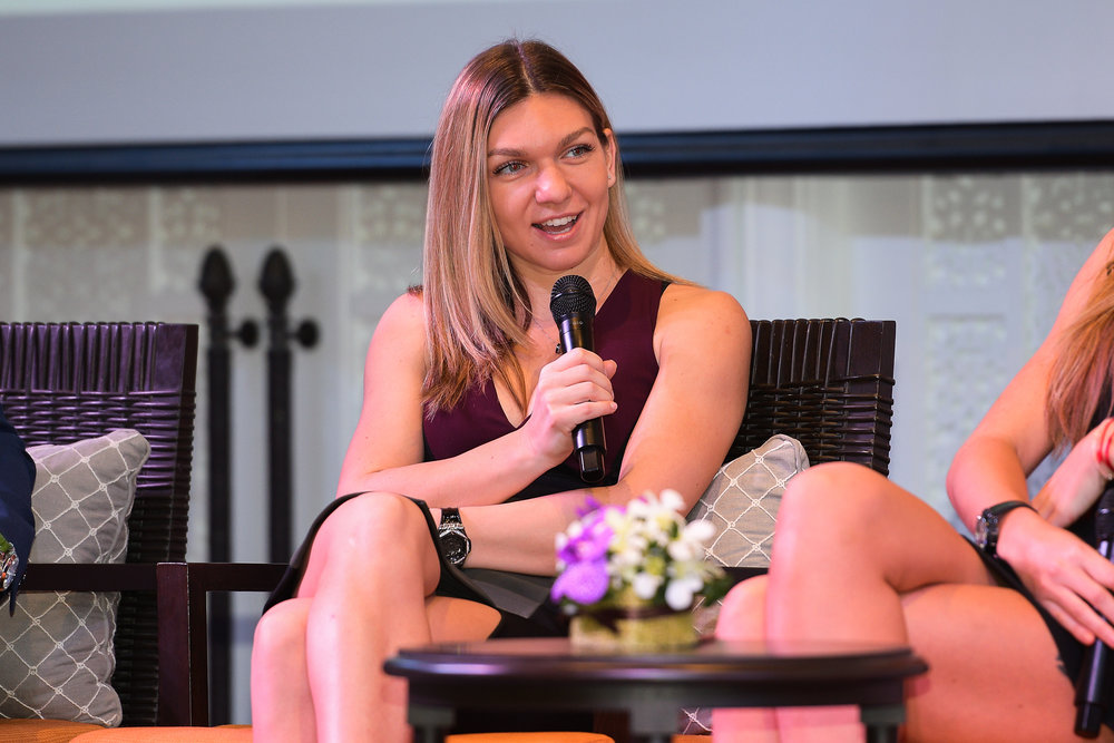 HUA HIN , THAILAND - DECEMBER 22: Simona Halep of Romania during Intercontinental World Tennis Thailand Championship 2017 Pre-Game Press Conference at Hua Hin, Prachuap Khiri Khan, Thailand on December 22, 2017. (Photo by: Naratip Srisupab/SEALs Sports Images)