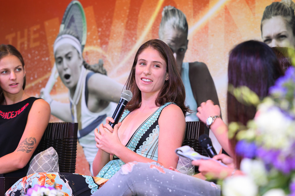 HUA HIN , THAILAND - DECEMBER 22: Johanna Konta of Great Britain during Intercontinental World Tennis Thailand Championship 2017 Pre-Game Press Conference at Hua Hin, Prachuap Khiri Khan, Thailand on December 22, 2017. (Photo by: Naratip Srisupab/SEALs Sports Images)