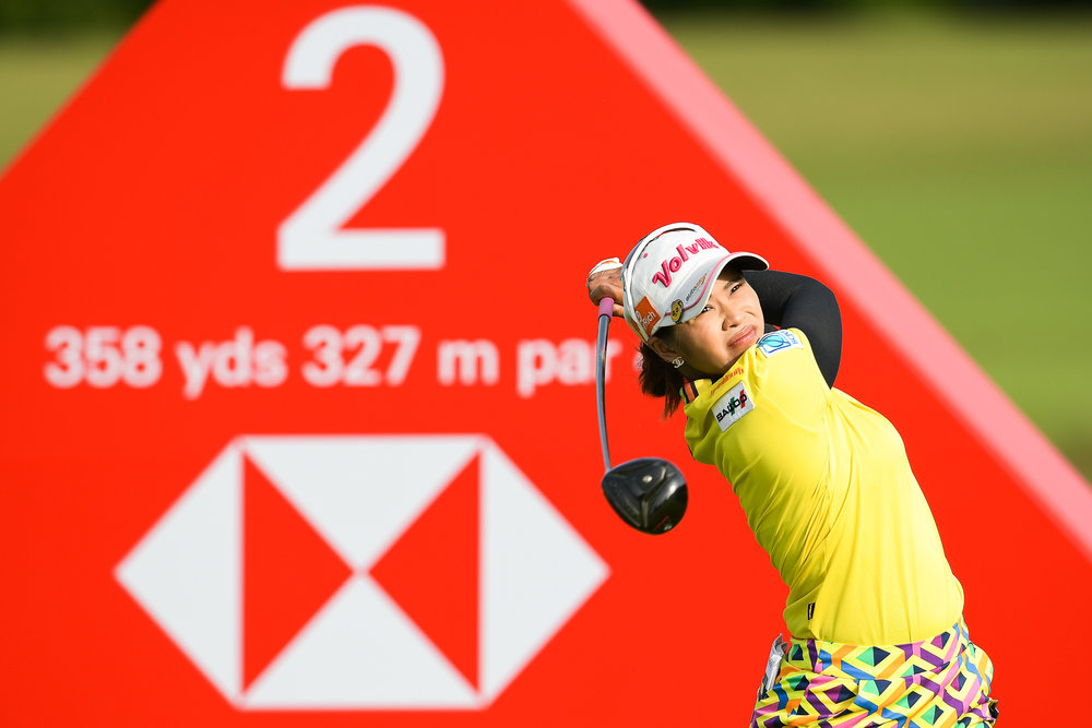 SINGAPORE - FEBRUARY 01: Pornanong Phatlum (THA) teeing off on Hole 2 during her first round at the HSBC Women's World Championship 2018 at Sentosa Golf Club, Singapore on March 01, 2018. (Photo by: Naratip Srisupab/SEALs Sports Images)