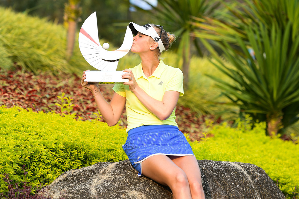 CHON BURI, THAILAND - FEBRUARY 25: Jessica Korda of USA takes home the trophy at the Honda LPGA Thailand 2018 at Siam Country Club (Old Course), Chon Buri, Thailand on February 25, 2018. (Photo by: Naratip Srisupab/SEALs Sports Images)
