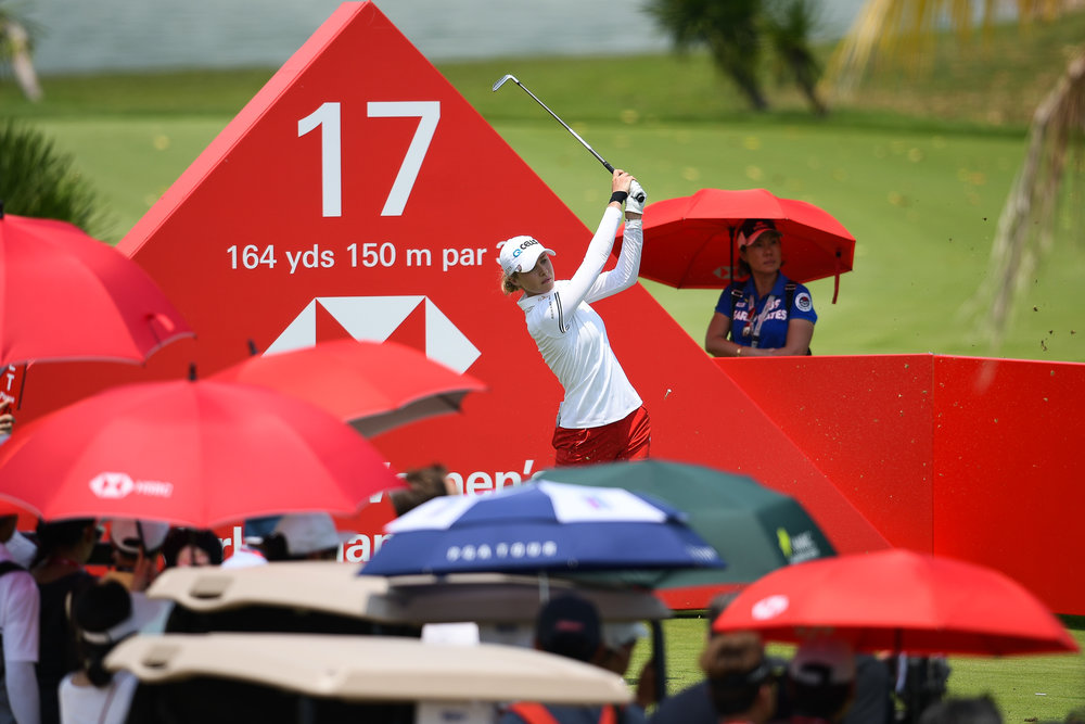 SINGAPORE - MARCH 03: Nelly Korda (USA) teeing off on Hole 17 during her third round at the HSBC Women's World Championship 2018 at Sentosa Golf Club, Singapore on March 03, 2018. (Photo by: Naratip Srisupab/SEALs Sports Images)