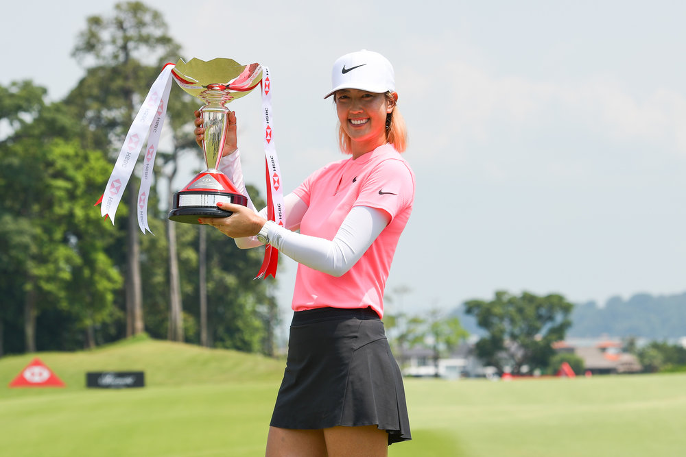 SINGAPORE - MARCH 04:  Michelle Wie (USA) is the HSBC Women's World Championship 2018 winner at Sentosa Golf Club, Singapore on March 04, 2018. (Photo by: Naratip Srisupab/SEALs Sports Images)