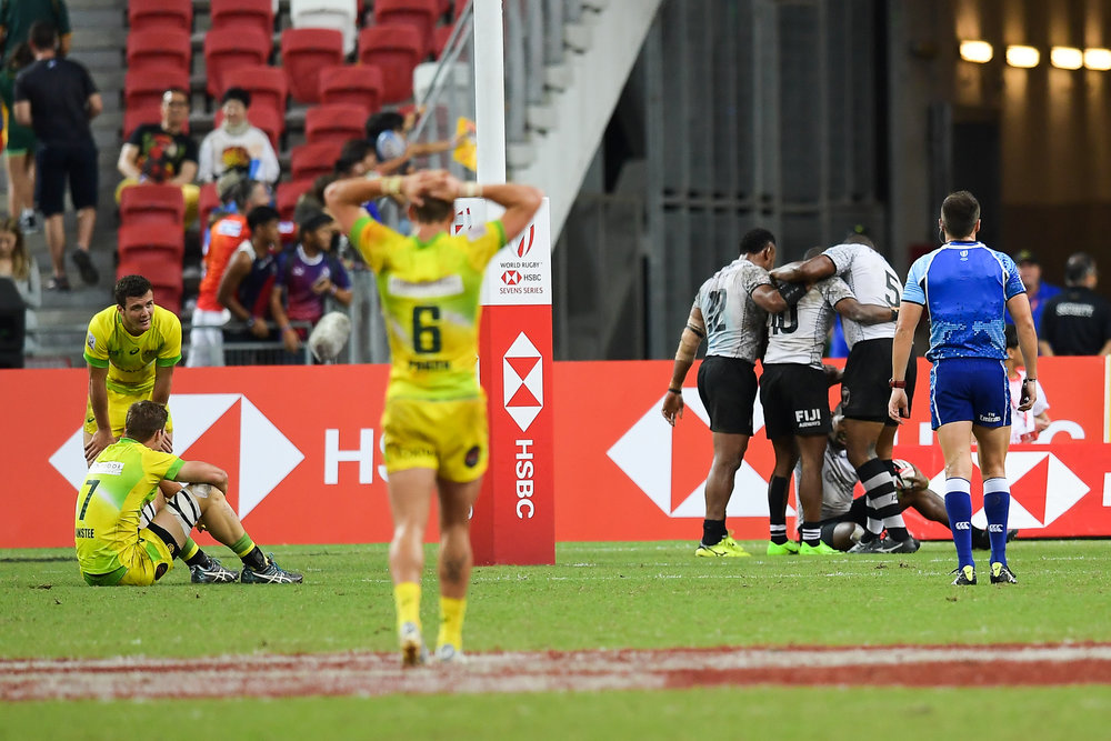 SINGAPORE - APRIL 29: Fiji wins the Cup Finals at the HSBC World Rugby Seven Series 2018, Singapore National Stadium, Singapore on April 29, 2018. (Photo by: Naratip Golf Srisupab/SEALs Sports Images)