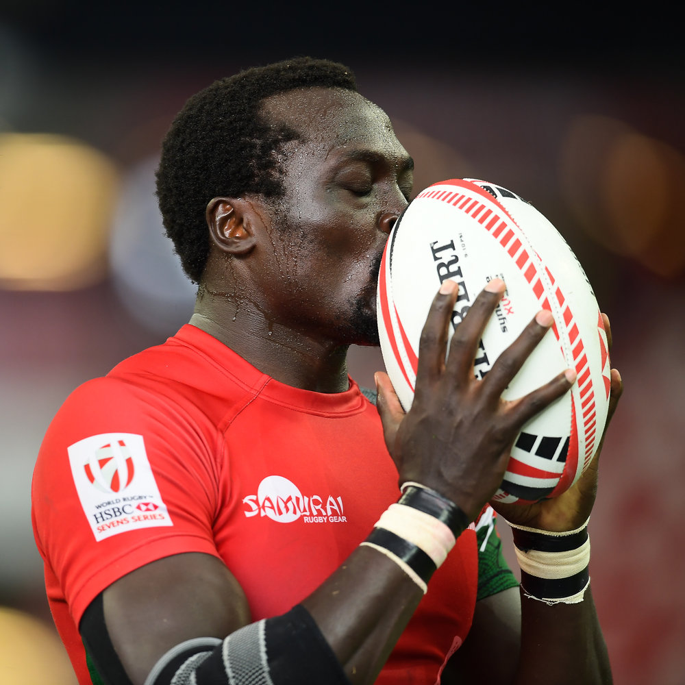 SINGAPORE - APRIL 28: Collins Injera (#11) of Kenya reaction after scoring a try during Match 14 at the HSBC World Rugby Seven Series 2018, Singapore National Stadium, Singapore on April 28, 2018. (Photo by: Naratip Golf Srisupab/SEALs Sports Images)