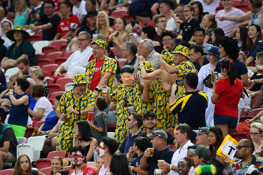 SINGAPORE - APRIL 28: Spectators having a good time during the HSBC World Rugby Seven Series 2018, Singapore National Stadium, Singapore on April 28, 2018. (Photo by: Naratip Golf Srisupab/SEALs Sports Images)