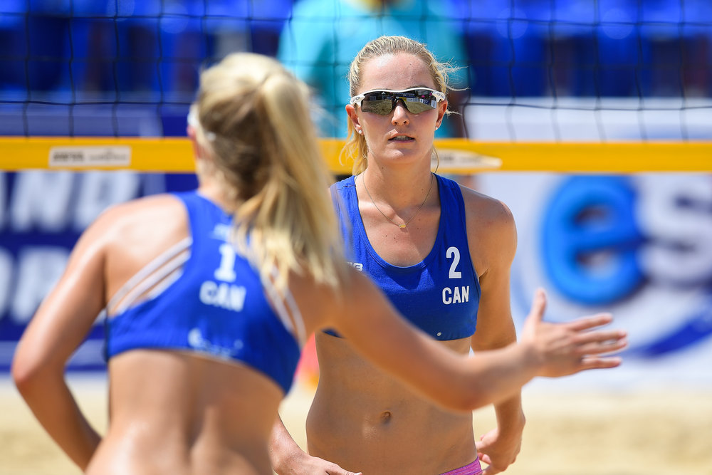 BANGKOK, THAILAND - MAY 12: M.McNamara/N.McNamara (CAN) during the Quarterfinals Match 22 on Court 1 at the FIVB Beach Volleyball World Tour - Bangkok Open 2018, King Mongkut's Institute of Technology, Bangkok, Thailand on May 12, 2018. (Photo by: Naratip Golf Srisupab/SEALs Sports Images)
