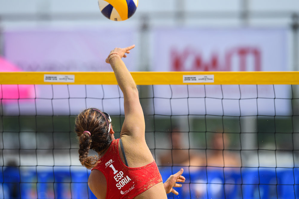 BANGKOK, THAILAND - MAY 13: Paula Soria Gutiérrez (ESP) during the Semi-Finals Match 25 on Court 1 at the FIVB Beach Volleyball World Tour - Bangkok Open 2018, King Mongkut's Institute of Technology, Bangkok, Thailand on May 13, 2018. (Photo by: Naratip Golf Srisupab/SEALs Sports Images)