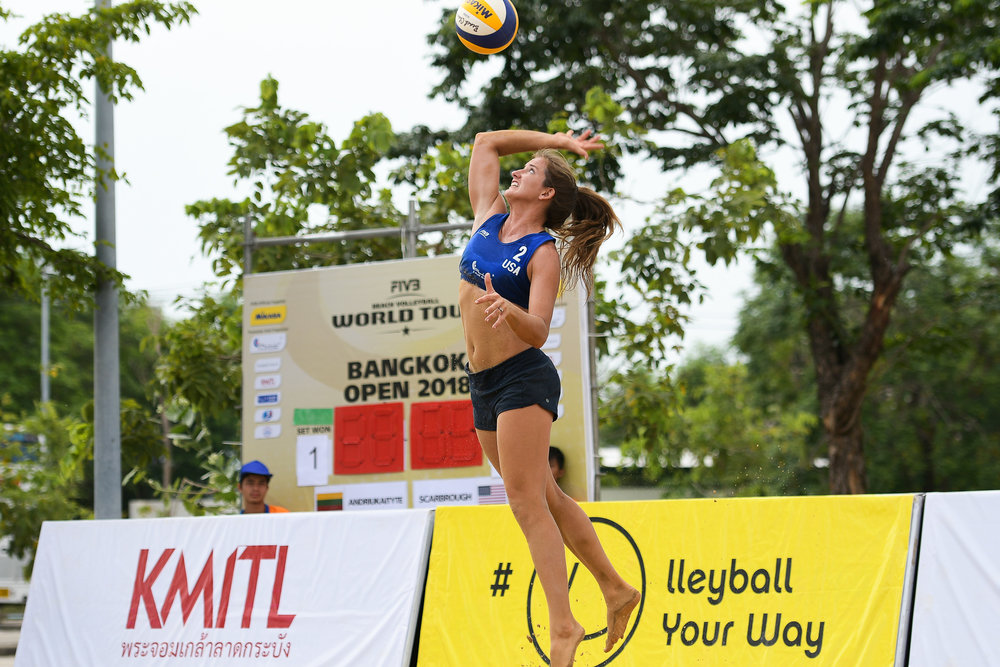 BANGKOK, THAILAND - MAY 12: Aurora Davis (USA) during the Quarterfinals Match 24 on Court 2 at the FIVB Beach Volleyball World Tour - Bangkok Open 2018, King Mongkut's Institute of Technology, Bangkok, Thailand on May 12, 2018. (Photo by: Naratip Golf Srisupab/SEALs Sports Images)