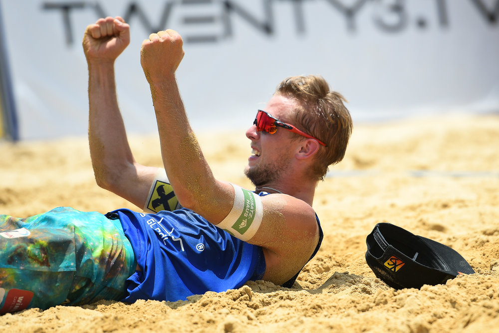 BANGKOK, THAILAND - MAY 13: Florian Schnetzer (AUT) reaction after winning the Semi-Finals Match 26 on Court 1  at the FIVB Beach Volleyball World Tour - Bangkok Open 2018, King Mongkut's Institute of Technology, Bangkok, Thailand on May 13, 2018. (Photo by: Naratip Golf Srisupab/SEALs Sports Images)