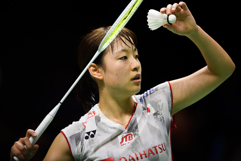 BANGKOK, THAILAND - MONTH 26: Nozomi Okuhara of Japan in action during her Uber Cup Finals at the BWF Total Thomas and Uber Cup Finals 2018, Impact Arena , Bangkok, Thailand on May 26, 2018.