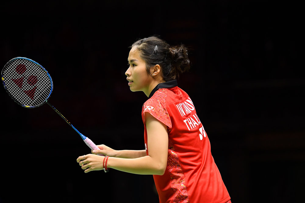 BANGKOK, THAILAND - MONTH 24: Ratchanok Intanon of Thailand on Court 1 during her Quarter Finals at the BWF Total Thomas and Uber Cup Finals 2018, Impact Arena , Bangkok, Thailand on May 24, 2018.