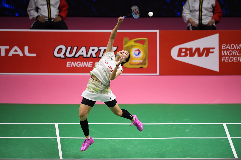 BANGKOK, THAILAND - MONTH 25: Ratchanok Intanon of Thailand in action on Court 1 during her Semi-Finals at the BWF Total Thomas and Uber Cup Finals 2018, Impact Arena , Bangkok, Thailand on May 25, 2018.