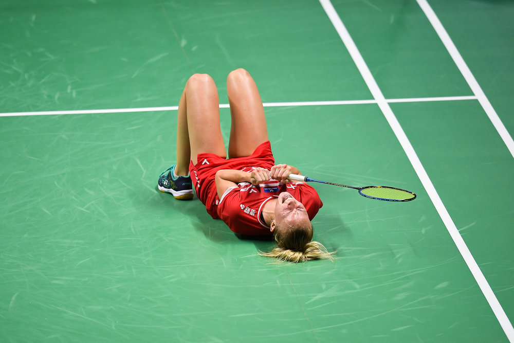 BANGKOK, THAILAND - MONTH 24: Mia Blichfeldt of Denmark reaction on Court 1 after winning her Quarter Finals at the BWF Total Thomas and Uber Cup Finals 2018, Impact Arena , Bangkok, Thailand on May 24, 2018.