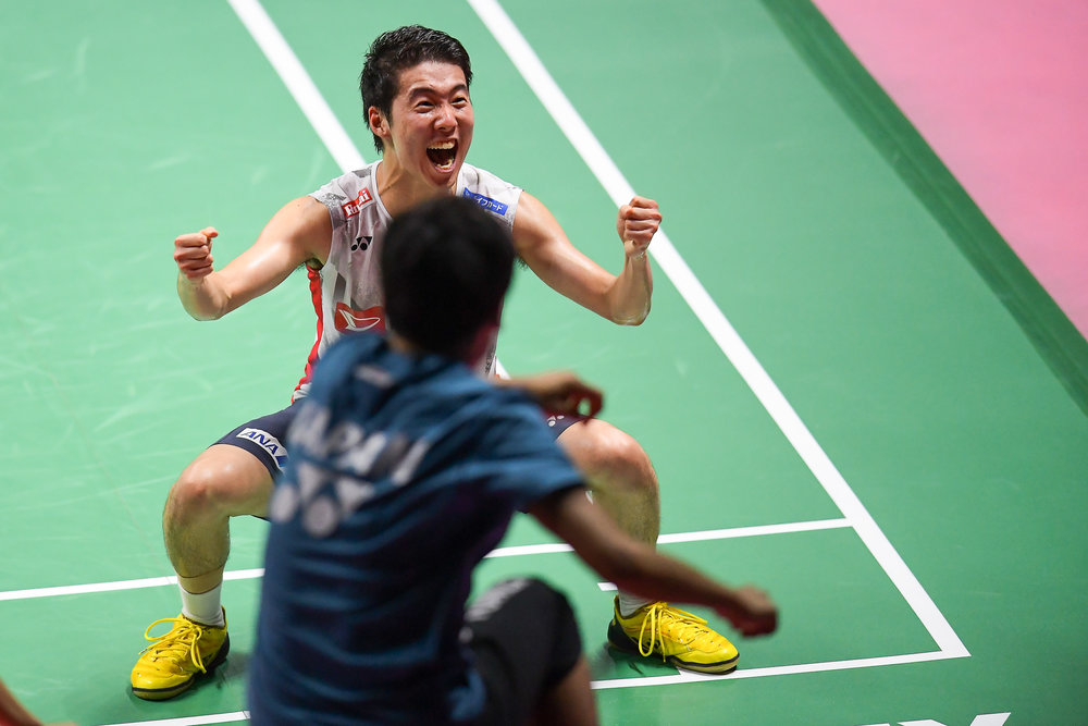 BANGKOK, THAILAND - MONTH 25: Kanta Tsuneyama of Japan reaction on Court 1 after winning his Semi-Finals at the BWF Total Thomas and Uber Cup Finals 2018, Impact Arena , Bangkok, Thailand on May 25, 2018.