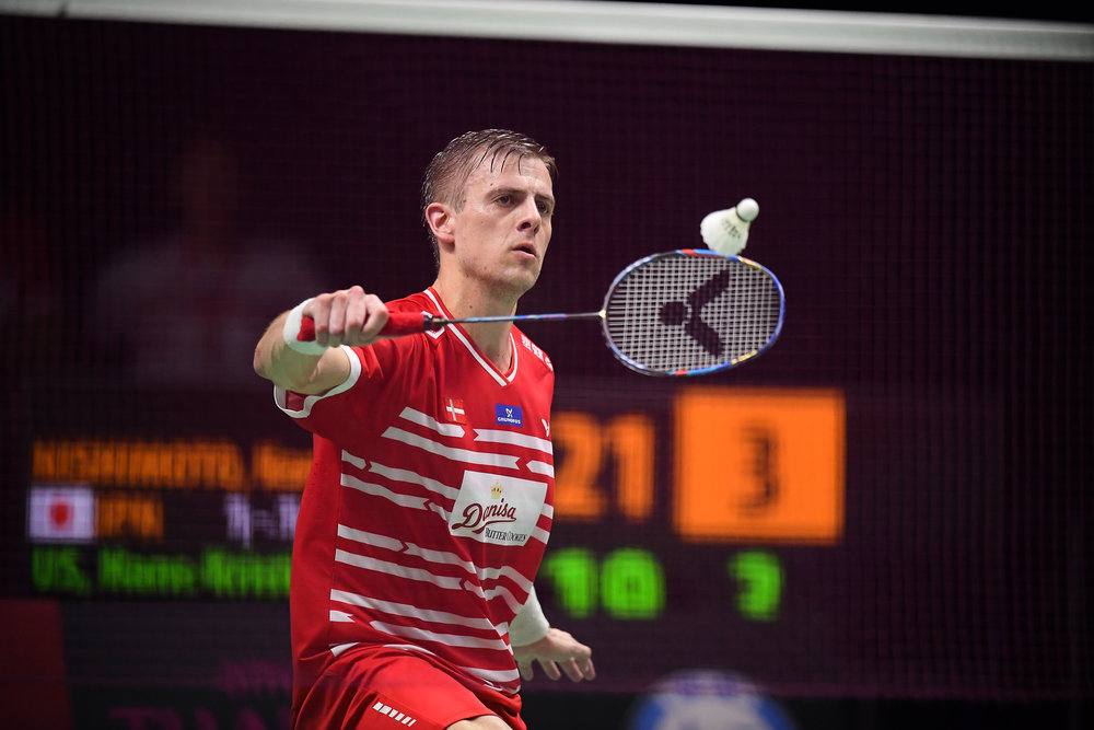 BANGKOK, THAILAND - MONTH 25: Hans-Kristian Solberg Vittinghus of Denmark on Court 1 during his Semi-Finals at the BWF Total Thomas and Uber Cup Finals 2018, Impact Arena , Bangkok, Thailand on May 25, 2018.