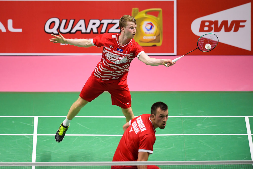 BANGKOK, THAILAND - MONTH 25: Kim Astrup and Anders Skaarup Rasmussen of Denmark on Court 1 during their Semi-Finals at the BWF Total Thomas and Uber Cup Finals 2018, Impact Arena , Bangkok, Thailand on May 25, 2018.