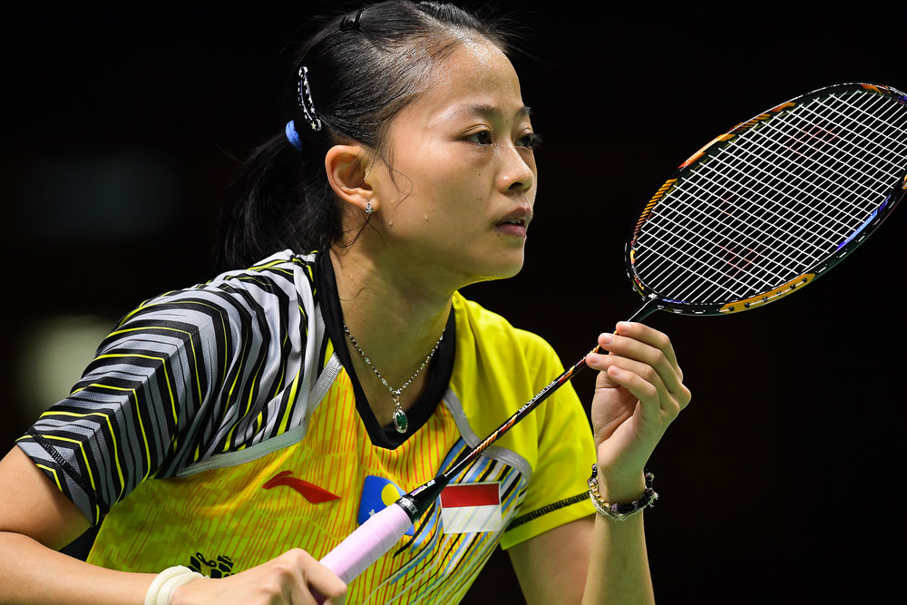BANGKOK, THAILAND - MONTH 24: Fitriani Fitriani of Indonesia on Court 1 during her Quarter Finals at the BWF Total Thomas and Uber Cup Finals 2018, Impact Arena , Bangkok, Thailand on May 24, 2018.