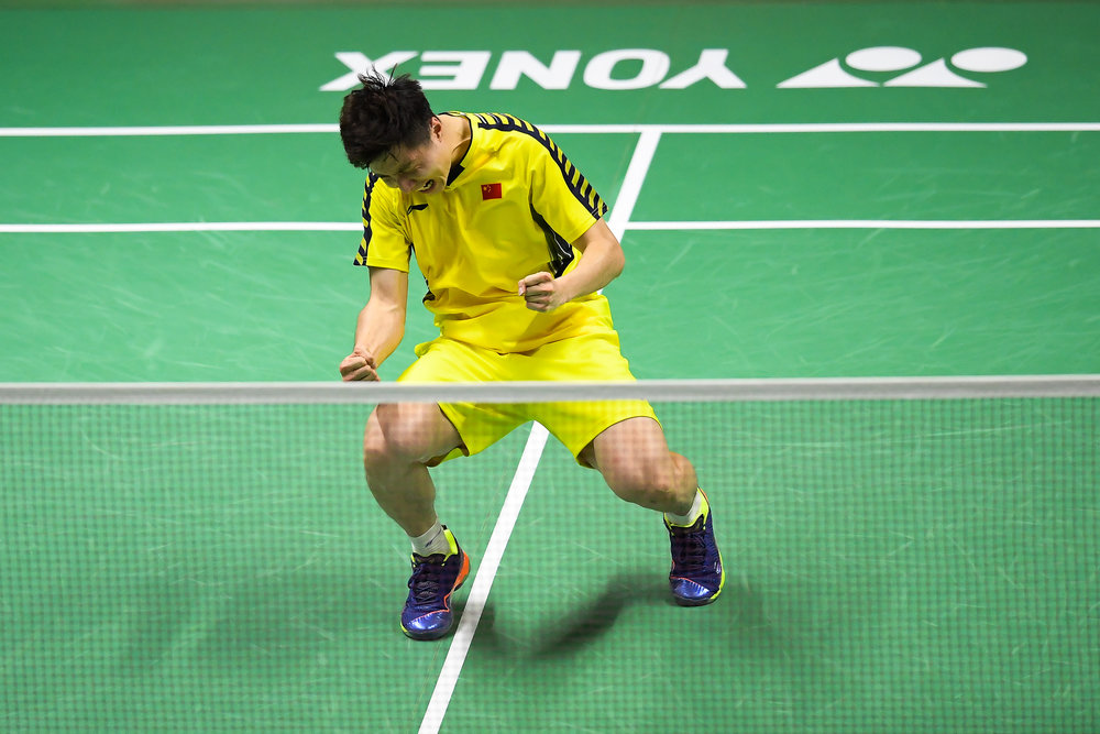 BANGKOK, THAILAND - MONTH 25: Shi Yuqi of China reaction after his Semi-Finals and for Team China at the BWF Total Thomas and Uber Cup Finals 2018, Impact Arena , Bangkok, Thailand on May 25, 2018.