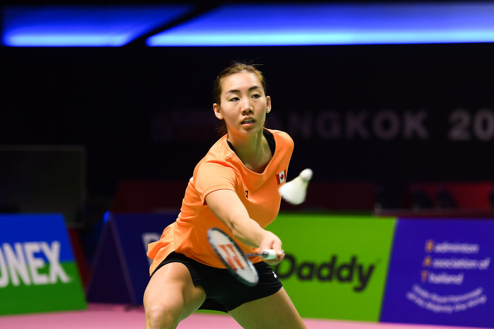 BANGKOK, THAILAND - MONTH 24: Michelle Li of Canada in action on Court 2 during her Quarter Finals at the BWF Total Thomas and Uber Cup Finals 2018, Impact Arena , Bangkok, Thailand on May 24, 2018.