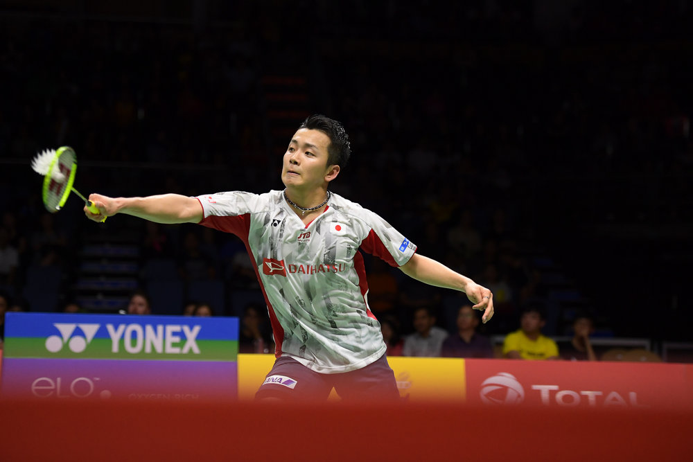 BANGKOK, THAILAND - MONTH 25: Kenta Nishimoto of Japan on Court 1 during his Semi-Finals at the BWF Total Thomas and Uber Cup Finals 2018, Impact Arena , Bangkok, Thailand on May 25, 2018.