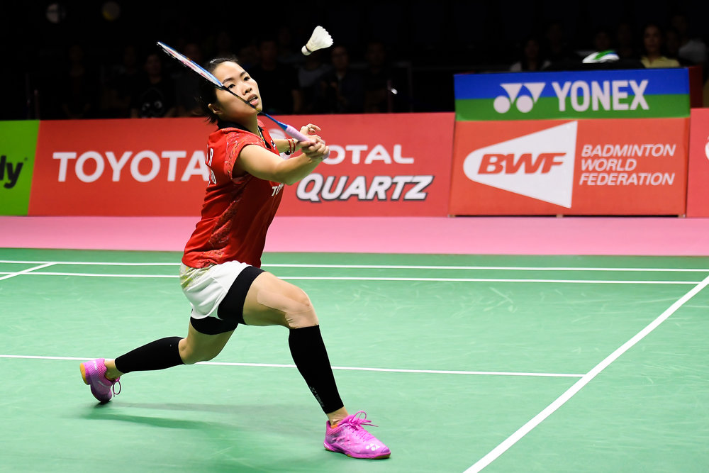 BANGKOK, THAILAND - MONTH 26: Ratchanok Intanon of Thailand in action during her Uber Cup Finals at the BWF Total Thomas and Uber Cup Finals 2018, Impact Arena , Bangkok, Thailand on May 26, 2018.
