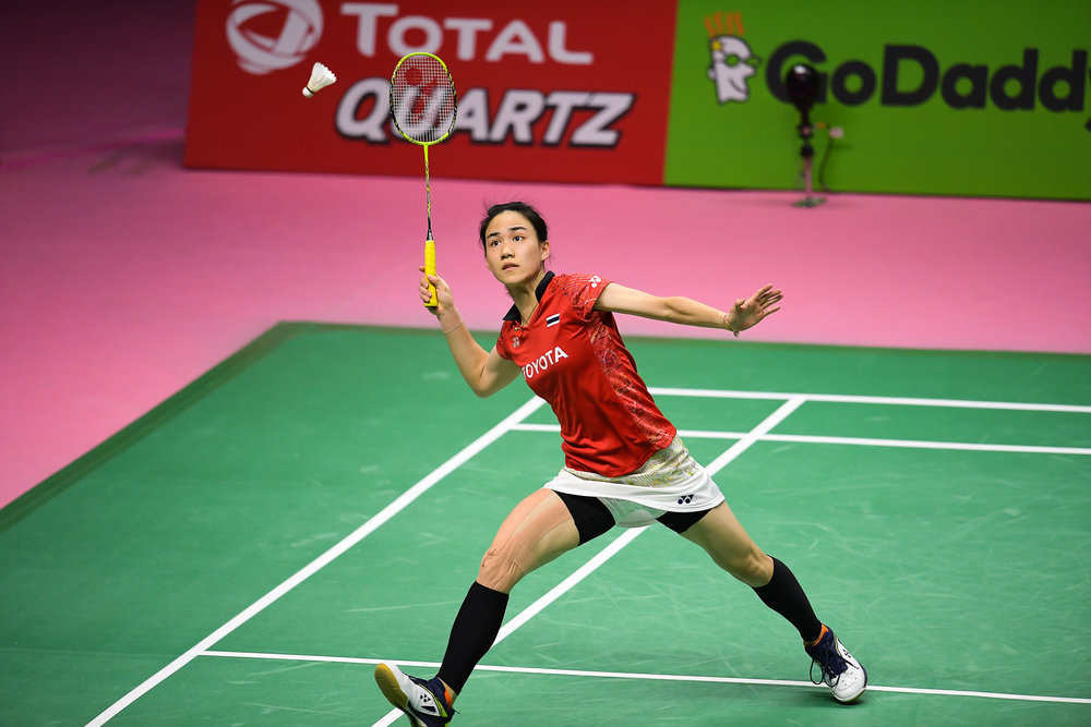 BANGKOK, THAILAND - MONTH 26: Nitchaon Jindapol of Thailand in action during her Uber Cup Finals at the BWF Total Thomas and Uber Cup Finals 2018, Impact Arena , Bangkok, Thailand on May 26, 2018.
