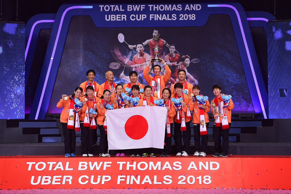 BANGKOK, THAILAND - MONTH 26: Team Japan is your 2018 Uber Cup Finals Champions at the BWF Total Thomas and Uber Cup Finals 2018, Impact Arena , Bangkok, Thailand on May 26, 2018.