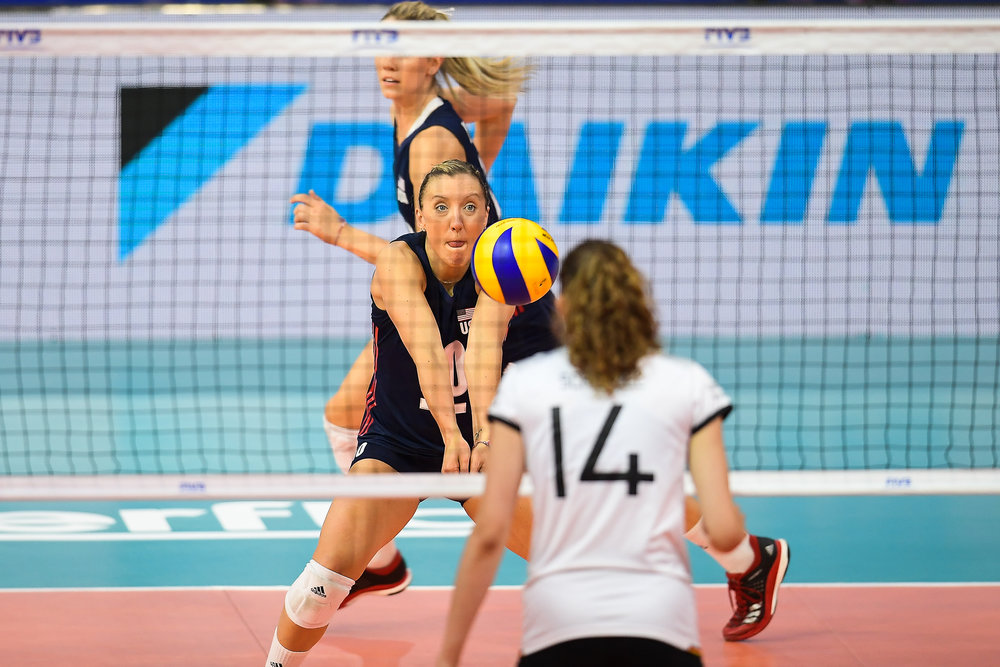 BANGKOK, THAILAND - MONTH 29: Michelle Bartsch-Hackley of USA in action against Team Germany during the FIVB Volleyball Nation League 2018, Hua Mark Indoor Stadium, Bangkok, Thailand on May 29, 2018. 