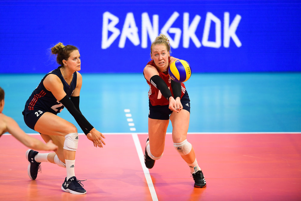 BANGKOK, THAILAND - MONTH 30: Michelle Bartsch-Hackley of USA in action against Team Dominican Republic  during the FIVB Volleyball Nation League 2018, Indoor Stadium Huamark, Bangkok, Thailand on May 30, 2018. 