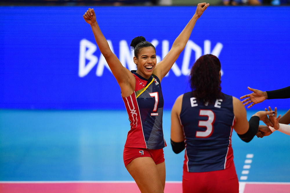 BANGKOK, THAILAND - MONTH 30: Niverka Dharlenis Marte Frica (c) of Dominican Republic reaction during their match against Team USA the FIVB Volleyball Nation League 2018, Indoor Stadium Huamark, Bangkok, Thailand on May 30, 2018. 