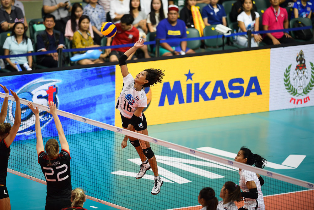 BANGKOK, THAILAND - MONTH 30: Pimpichaya Kokram of Thailand spiking against Team Germany during the FIVB Volleyball Nation League 2018, Indoor Stadium Huamark, Bangkok, Thailand on May 30, 2018. 