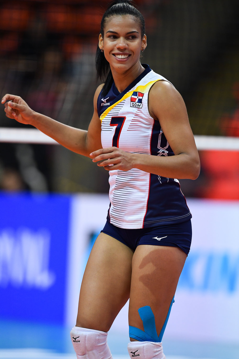 BANGKOK, THAILAND - MONTH 31: Niverka Dharlenis Marte Frica (c) of Dominican Republic in action against Team Germany during the FIVB Volleyball Nation League 2018, Indoor Stadium Huamark, Bangkok, Thailand on May 31, 2018. 