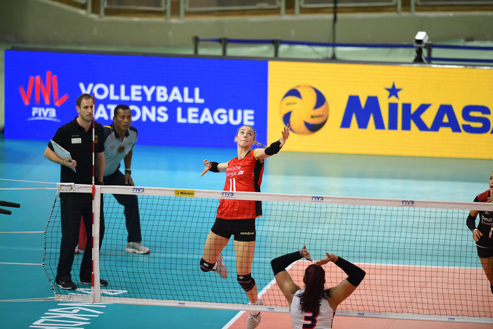BANGKOK, THAILAND - MONTH 31: Louisa Lippmann of Germany going for a spike against Team Dominican Republic during the FIVB Volleyball Nation League 2018, Indoor Stadium Huamark, Bangkok, Thailand on May 31, 2018. 